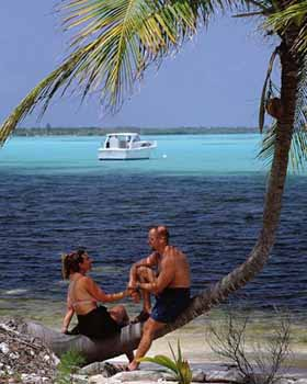 Couple Relaxing on the Royal Reef Resort in the Grand Cayman